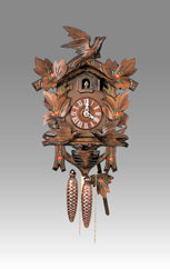 Traditional Cuckoo clock, Art.115_V Walnut hand-paint mooving's bird- Cuckoo melody with gong hour on coil gong