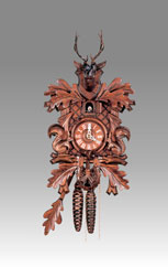 Traditional Cuckoo clock, Art.117 Walnut with Deer and Squirrels - Cuckoo melody with gong hour on coil gong