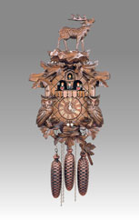 Traditional Cuckoo clock, Art.141_8_RM Walnut with Deer and Owls - Cuckoo melody with gong hour on coil gong and carillon with dencer