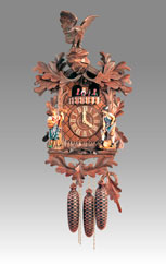 Traditional Cuckoo clock, Art.166_8_RM Walnut with Eagle on top,  and statue - Cuckoo melody with gong hour on coil gong and carillon with dancer