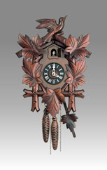 Traditional Cuckoo clock, Art.302_1 Walnut - Cuckoo melody with gong hour on coil gong