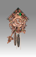 Traditional Chalet Cuckoo clock, Art.65_11 Walnut hand paint - Chalet Cuckoo melody with gong hour on coil gong