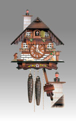 Traditional Chalet Cuckoo clock, Art.65_13 Walnut hand paint - Chalet Cuckoo melody with gong hour on coil gong
