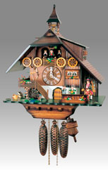 Traditional Chalet Cuckoo clock, Art.68_8_RM Walnut paint, - Chalet Cuckoo melody with gong hour on coil gong and carillon with dancer, mill, bell