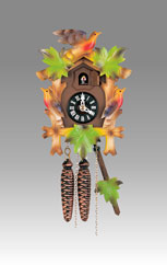 Traditional Cuckoo clock, Art.800_1 Walnut policromated- Cuckoo melody with gong hour on coil gong