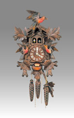 Traditional Cuckoo clock, Art.805_M Walnut hand-paint mooving's bird- Cuckoo melody with gong hour on coil gong
