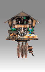 Traditional Chalet Cuckoo clock, Art.936_RM Walnut paint, - Chalet Cuckoo melody with gong hour on coil gong and carillon with dancer, mill, bell