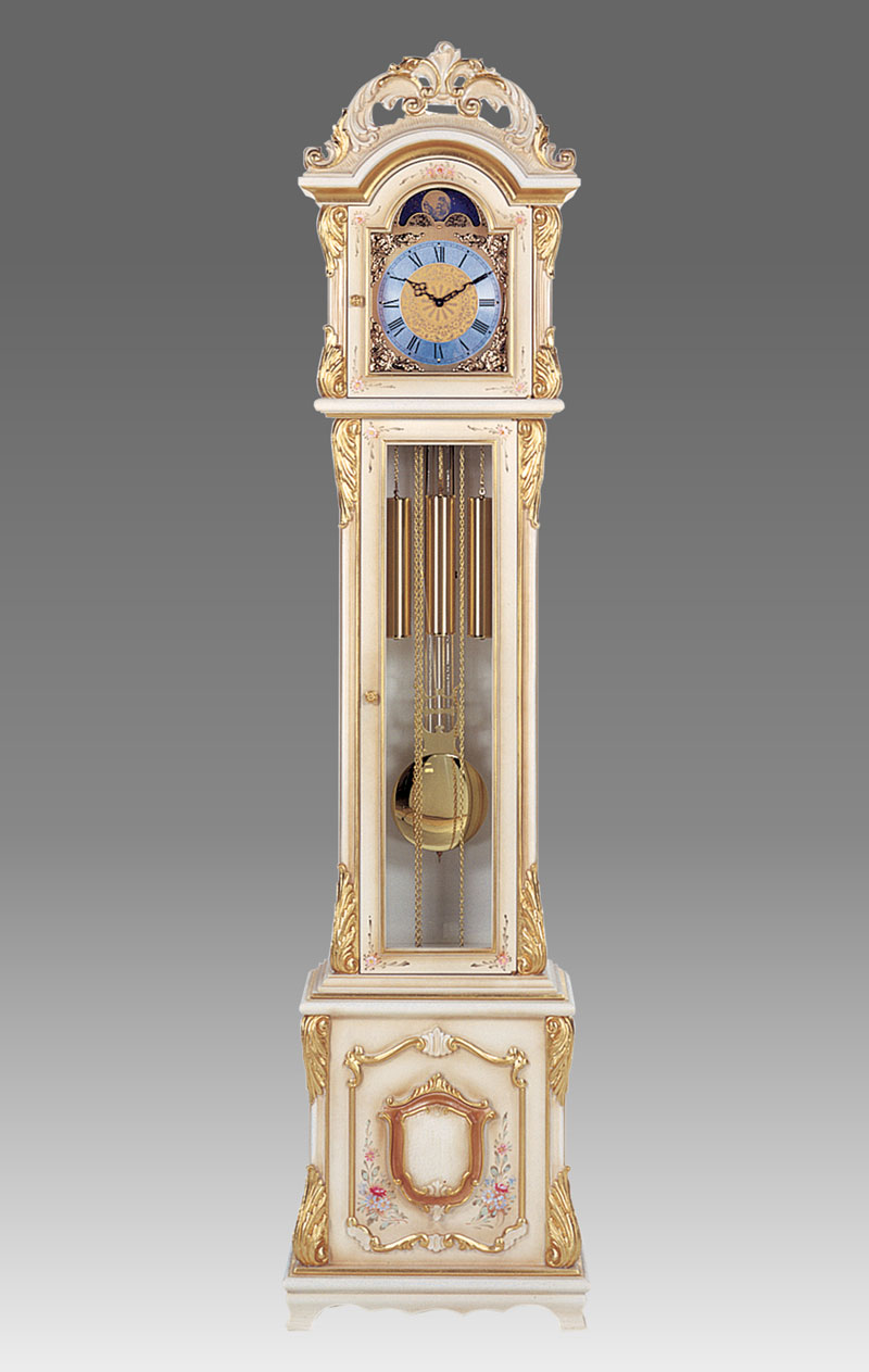 Grandfather clock Art.502/2 lacquered and decorated with gold particular