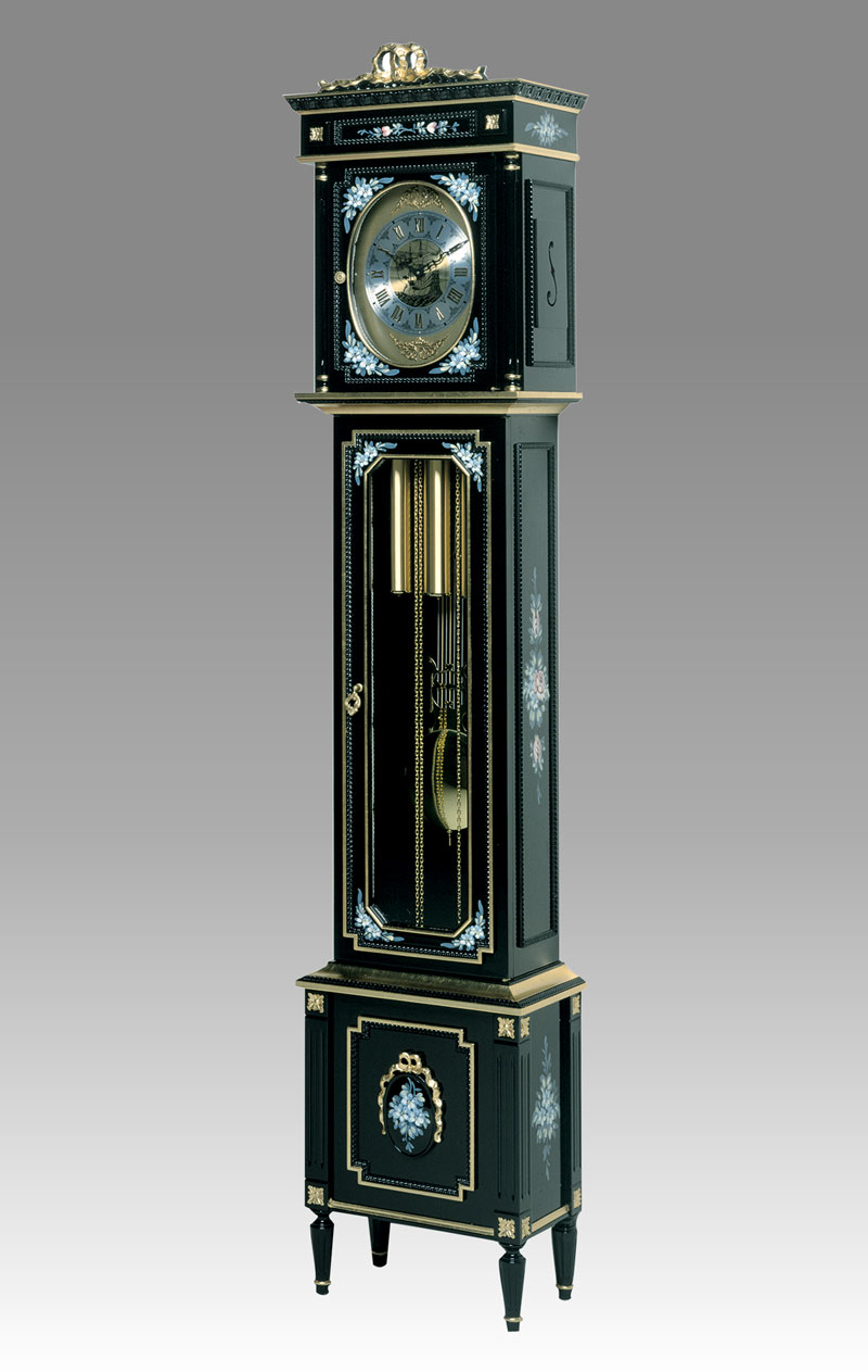Grandfather clock Art.509/3 lacquered black with gold and decoration