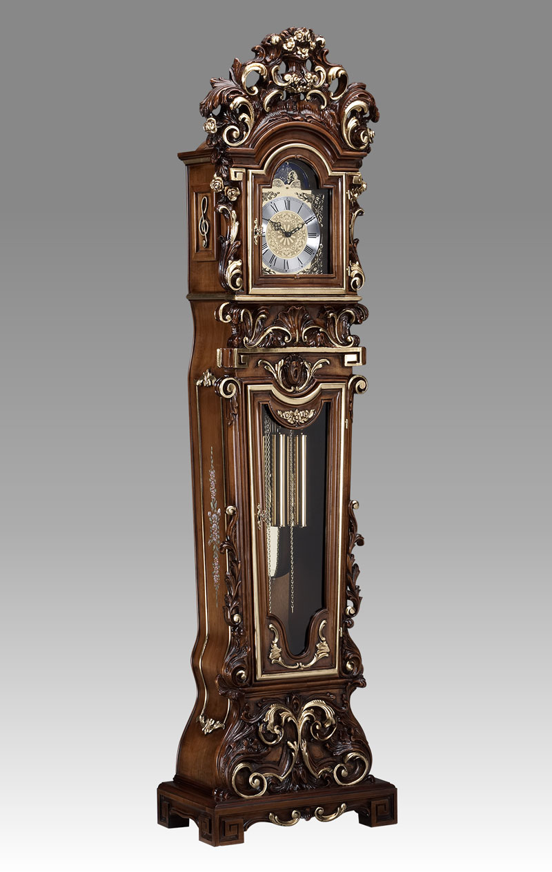 Grandfather clock Art.512/4 walnut with gold and decoration without Angel