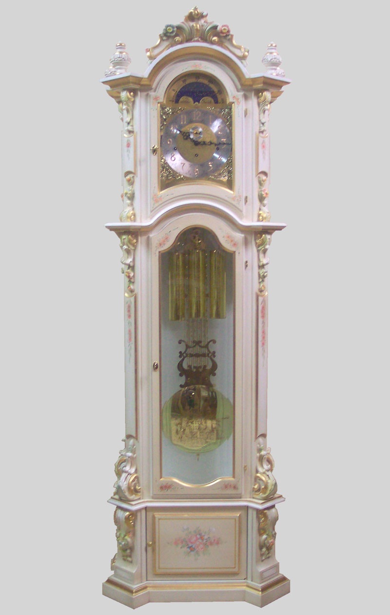 Curio Grandfather clock Art.520/1 walnut with curving and inlay