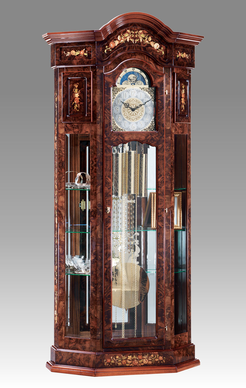Curio Grandfather clock Art.525/5 walnut root inlay