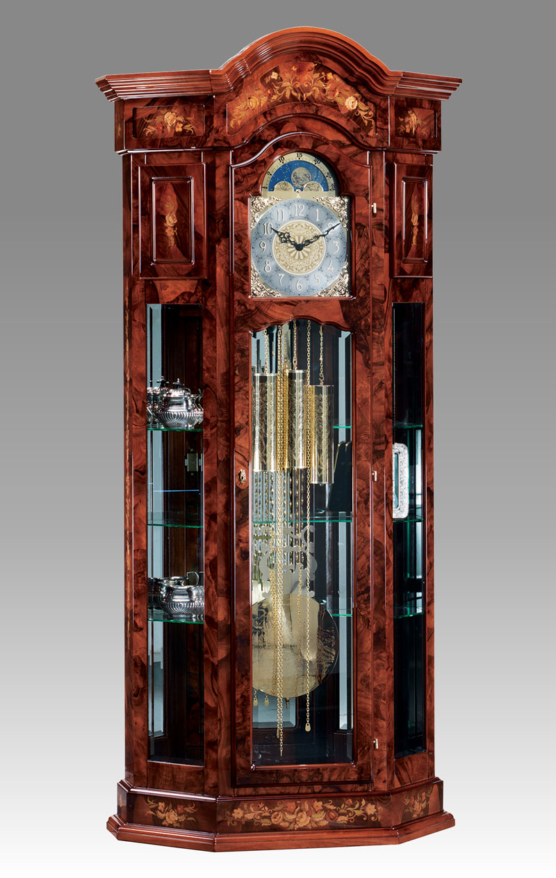 Curio Grandfather clock Art.525/6 briar of walnut inlay