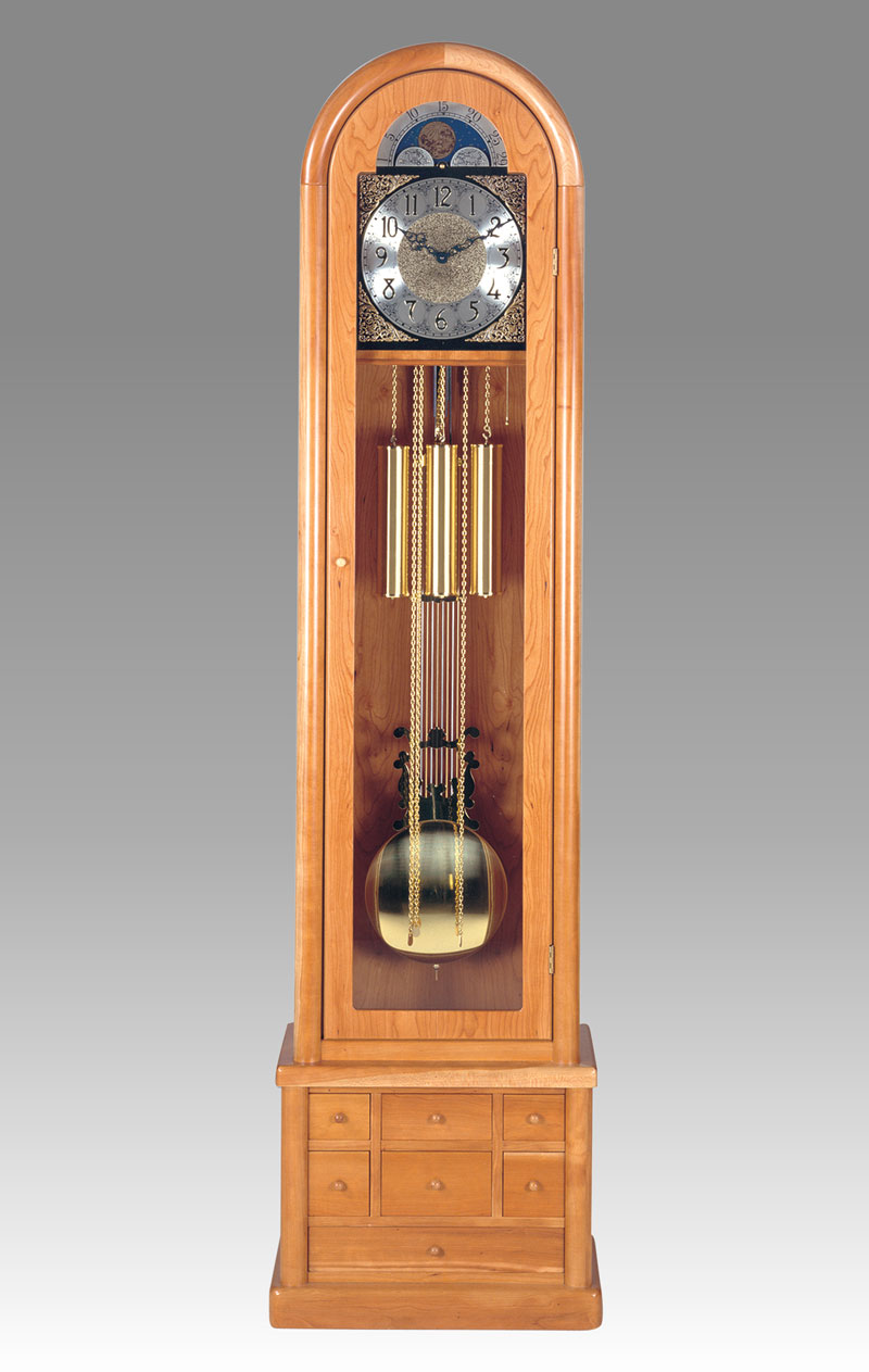 Grandfather clock Art.542/3 cherry wood with 7 drawers