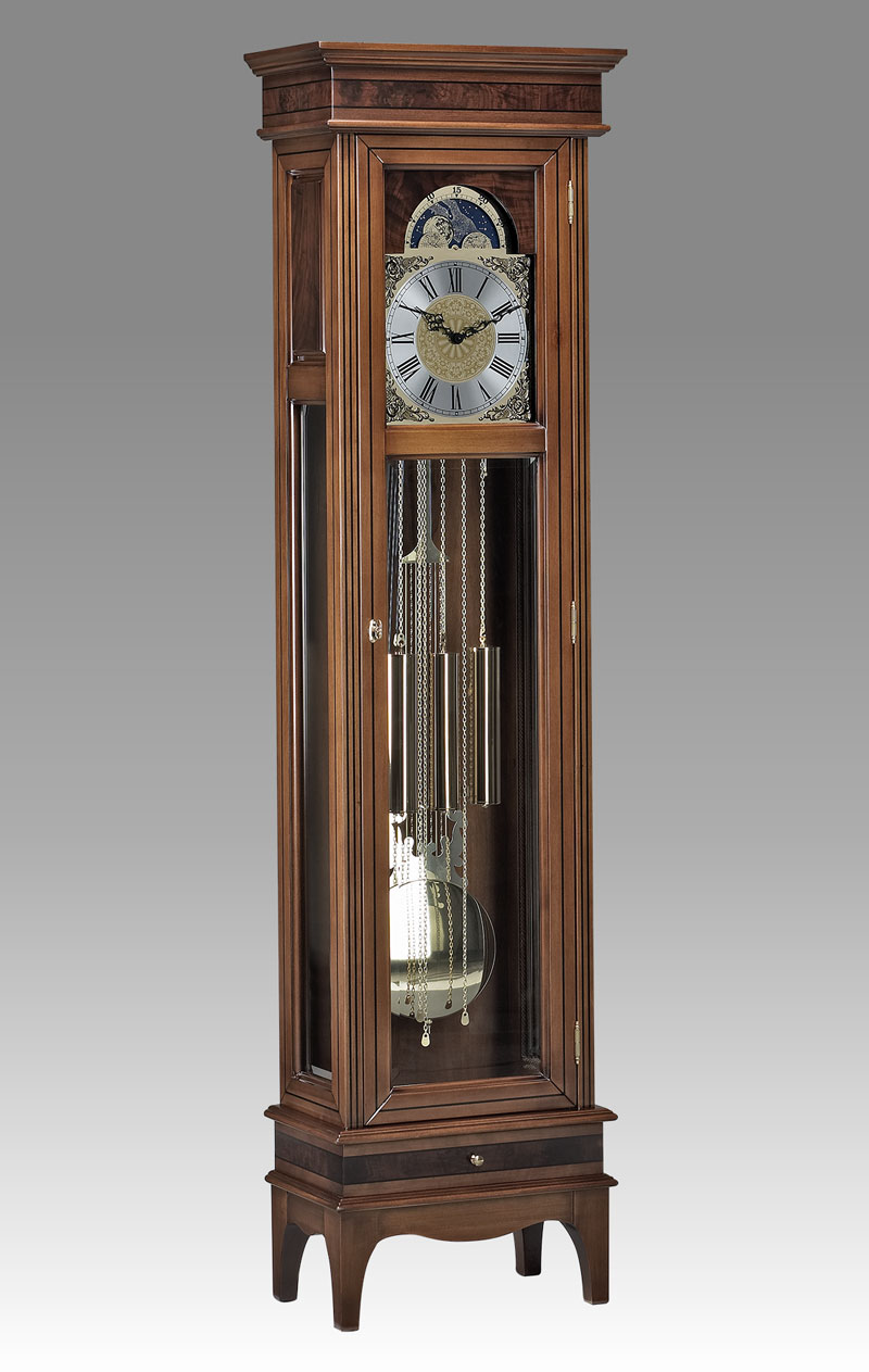 Grandfather clock Art.554/1 walnut with walnut root inlay and 1 drawer
