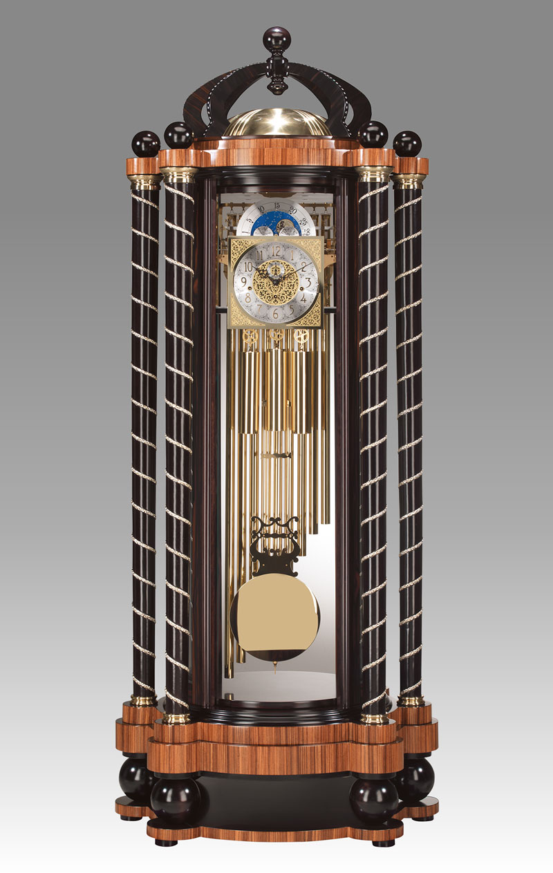 Curio Grandfather clock Art.560/1C Double face clock in Ebony and Zebrano, with crown with 174 Zironia Stone