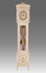 floor clock Art.509/2 lacquered white patinated with gold and decoration