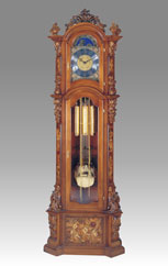 floor clock Art.520/1 walnut handcurved with inlay