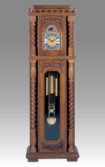 floor clock Art.534/2 oak wood with hand-curved particular