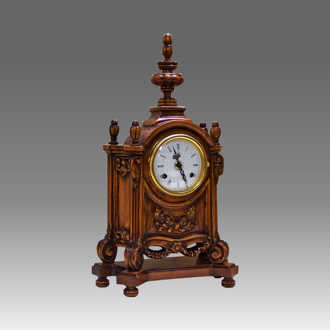 Mante Clock, Table Clock, Cimn Clock, Art.323/1 walnut - Bim Bam melody on Bells, white round dial
