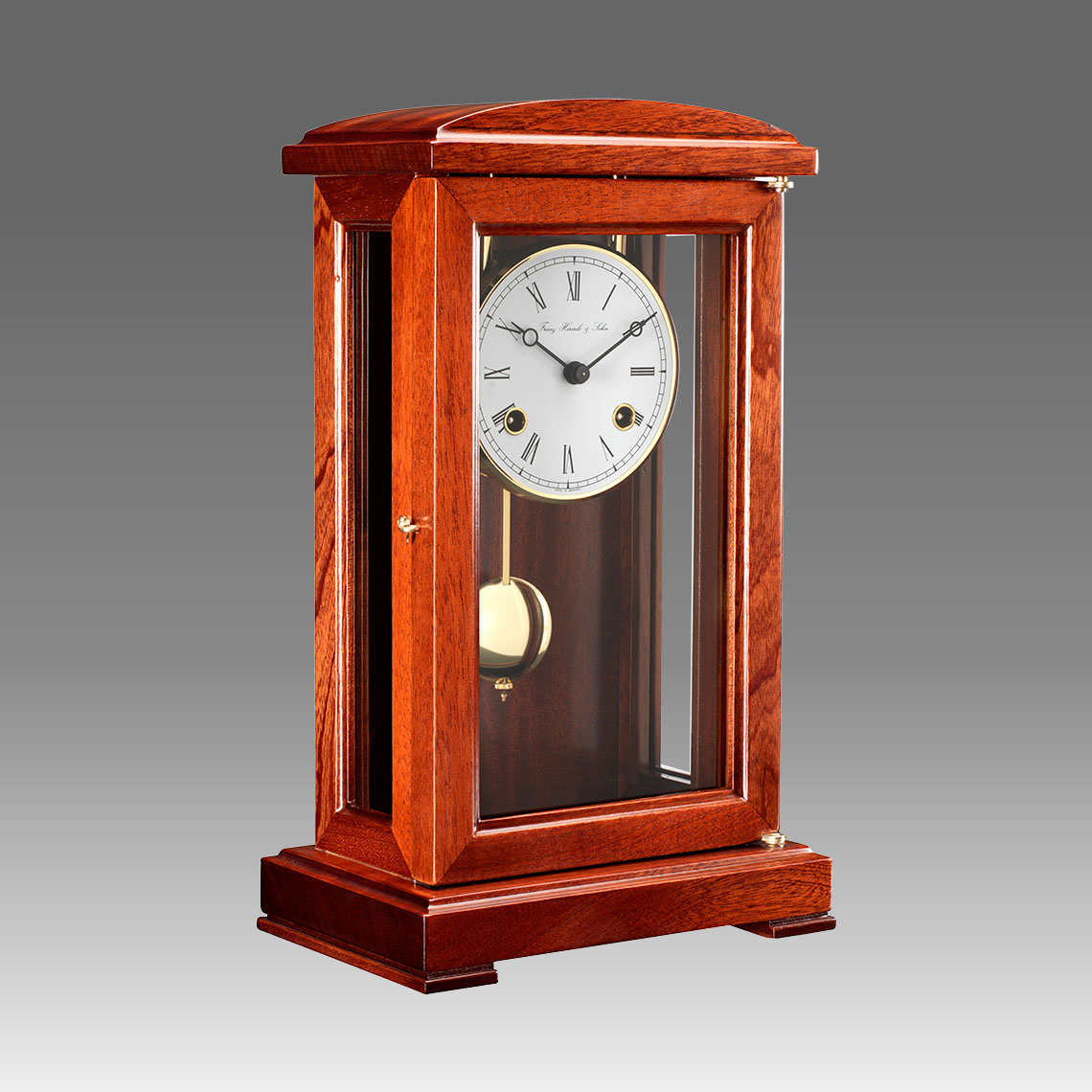Mante Clock, Table Clock, Cimn Clock, Art.322/2 lacquered light ivory - Bim Bam melody on Bells, white round dial