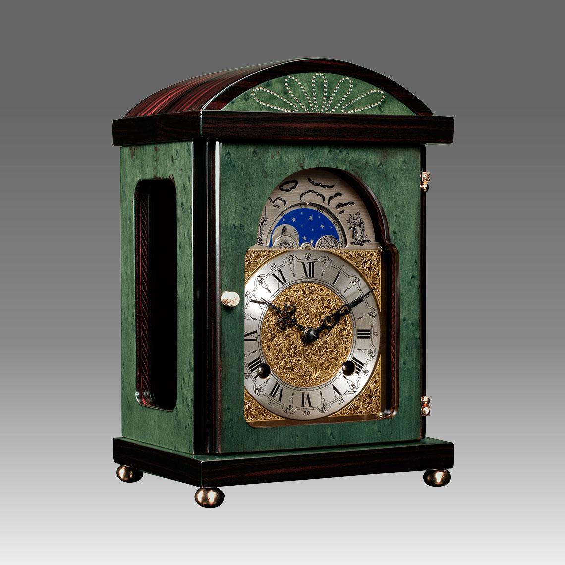 Mante Clock, Table Clock, Cimn Clock, Art.340/4 Erable green wood - Bim Bam melody on Bells, eatched decorated moon fase dial