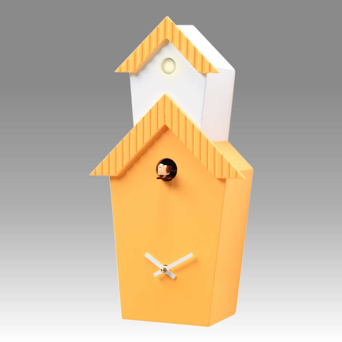 Modern cuckoo clock Art.flat 2601 lacquered with acrilic color yellow