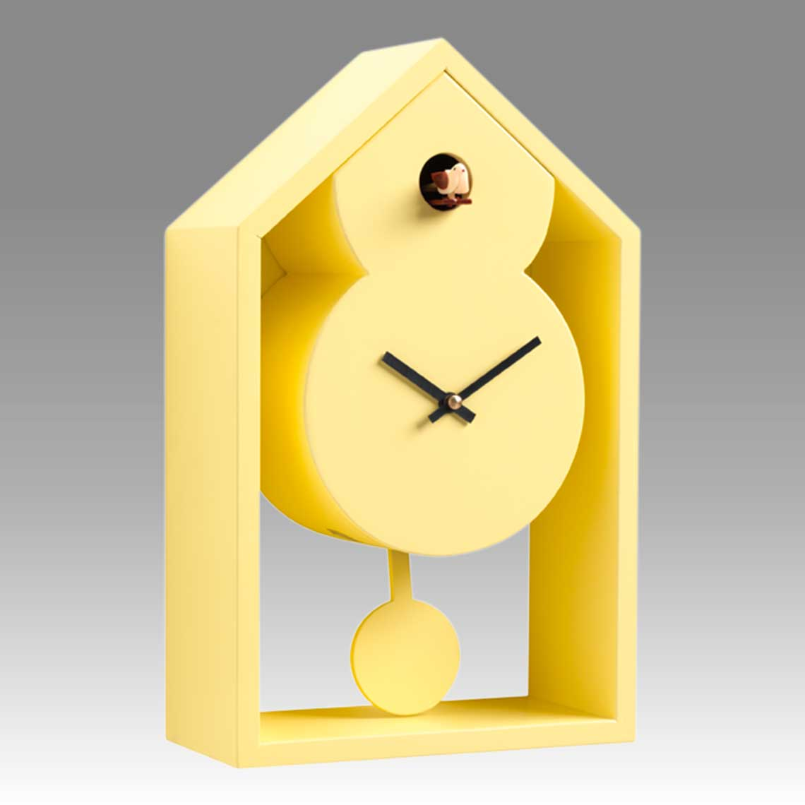Modern cuckoo clock Art.ghost 2599 lacquered with acrilic color yellow