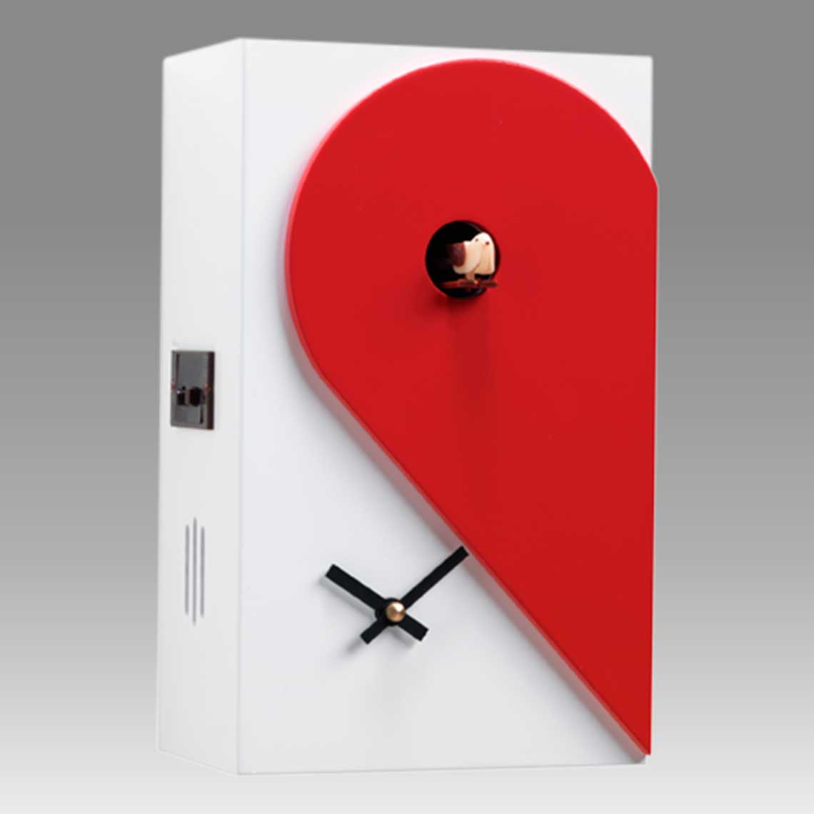 Modern cuckoo clock Art.loveme loveyou 2606 lacquered with acrilic color white with red heart