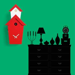 Contemporary cuckoo clock Art.flat 2601 lacquered with acrilic color red, with environment