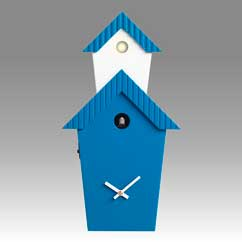Contemporary cuckoo clock Art.flat 2601 lacquered with acrilic color blue