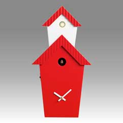 Contemporary cuckoo clock Art.flat 2601 lacquered with acrilic color red