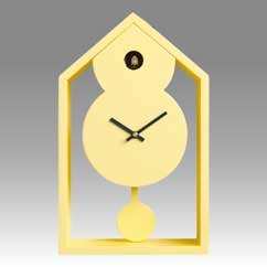 Contemporary cuckoo clock Art.ghost 2599 lacquered with acrilic color yellow lemon