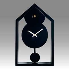 Contemporary cuckoo clock Art.ghost 2599 lacquered with acrilic color black